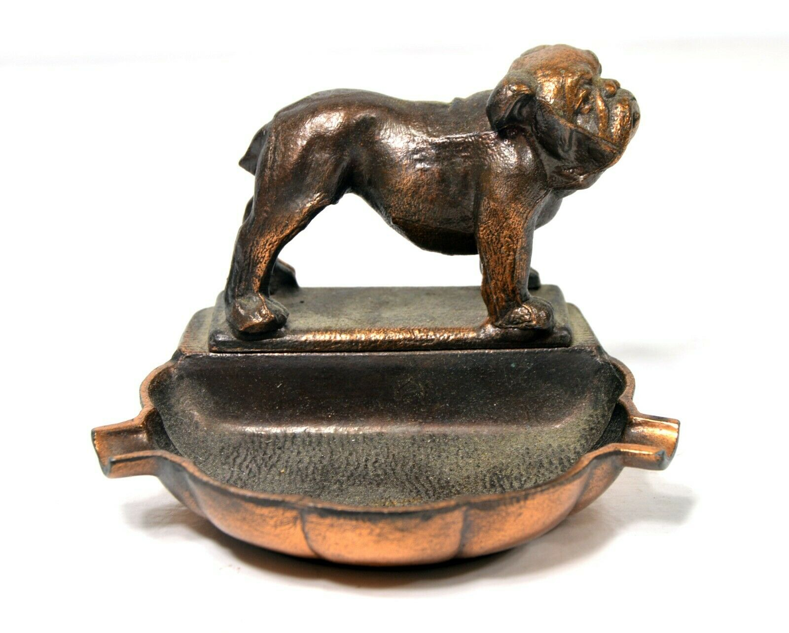 Vintage Bulldog Ashtray Old Heavy Bronze Colored Metal Estate Collectible 4in