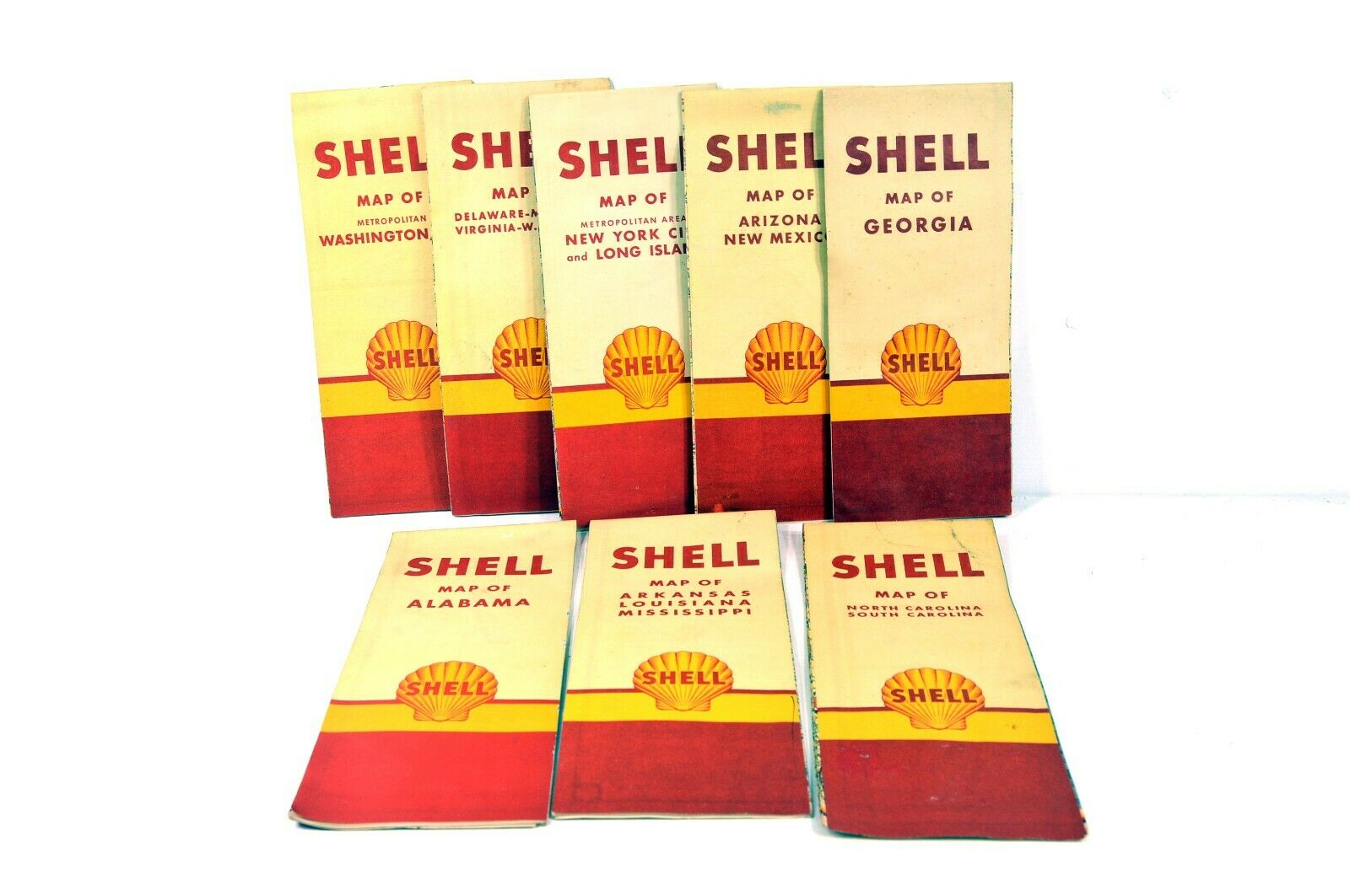 Vintage Shell Gasoline 1950s US City Metro Street Road Maps - NYC Washington