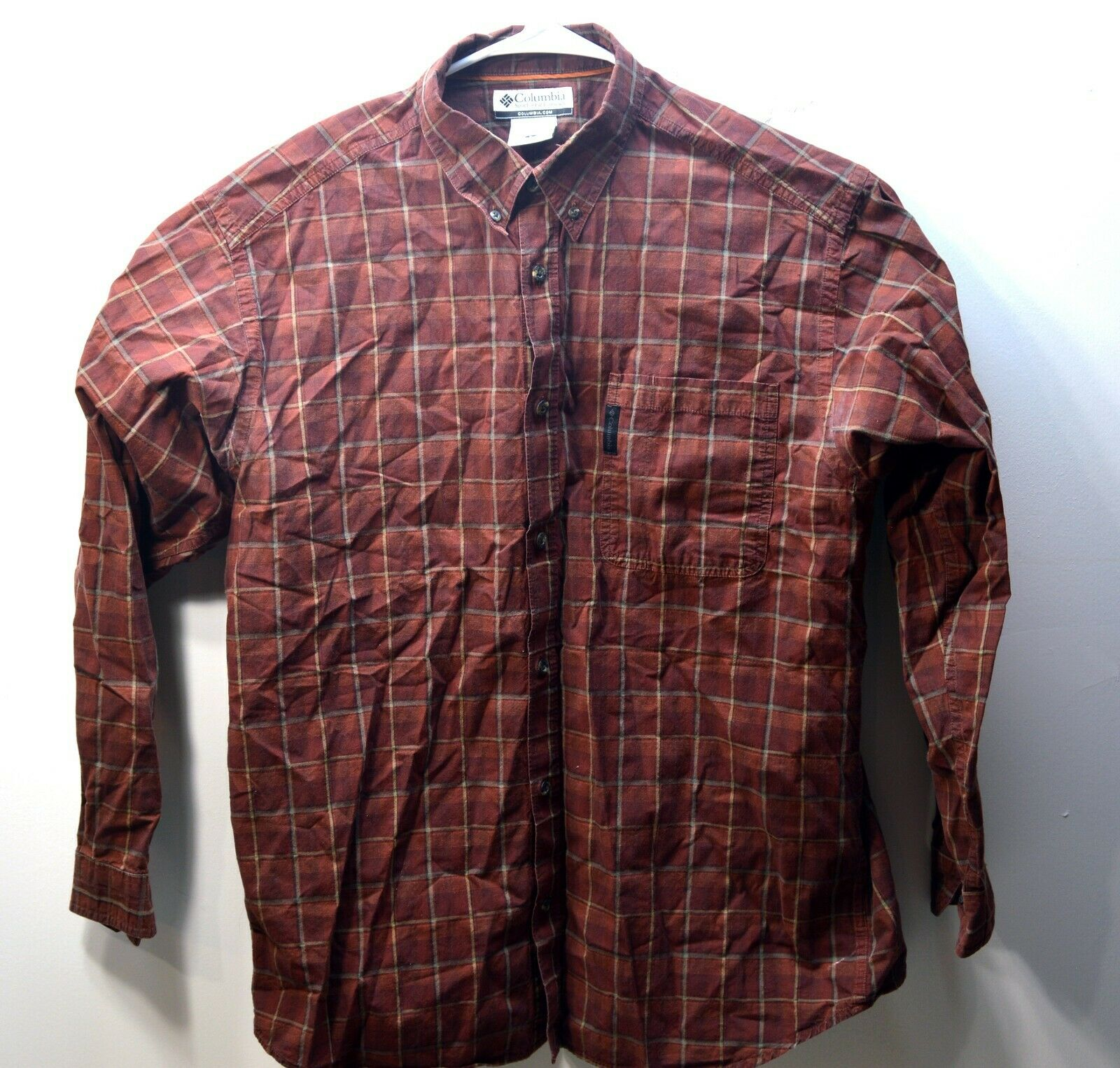 Columbia Large Long Sleeve Shirt Mens Size L Red/Brown Plaid Stripes