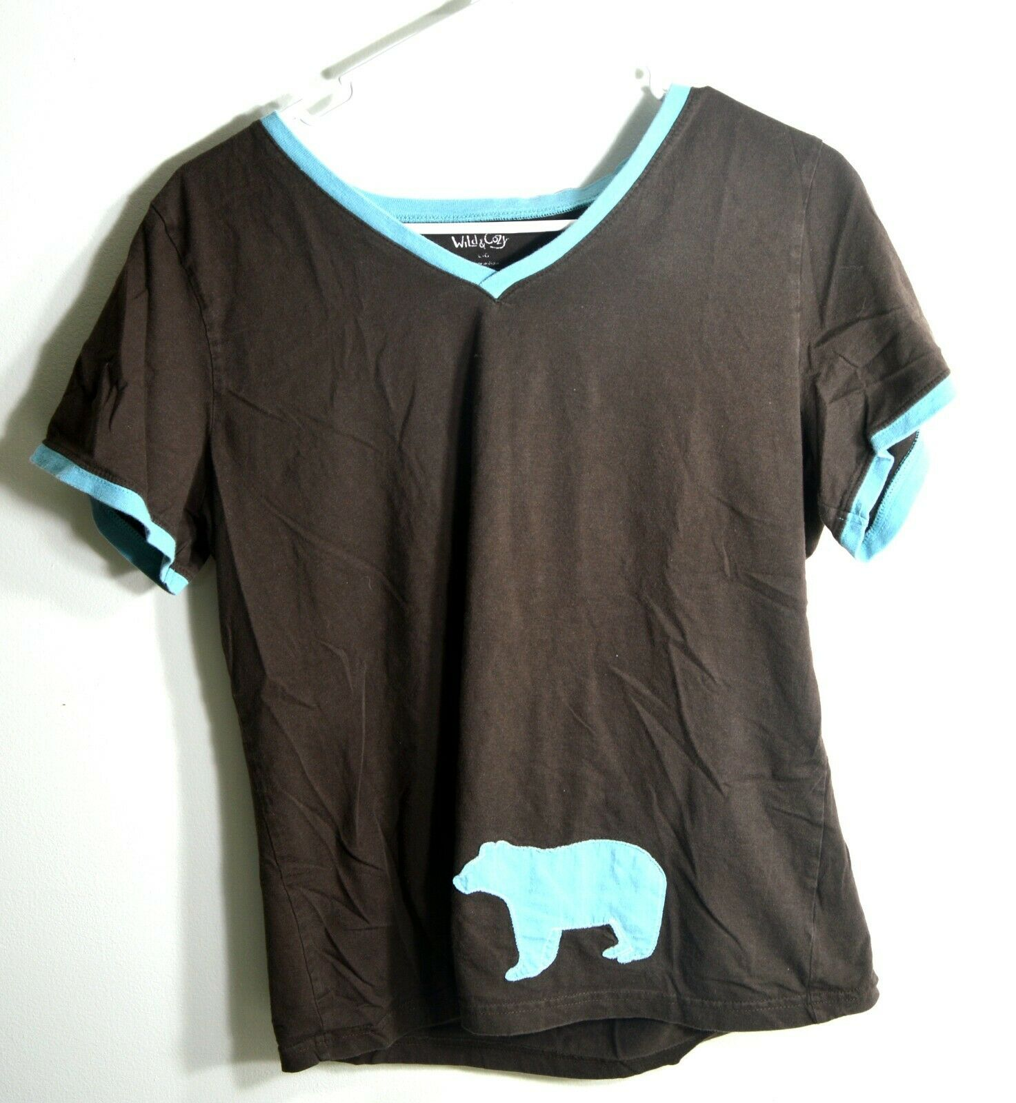 Wild & Cozy Girl's Size Large Short Sleeve Brown Bear T-shirt