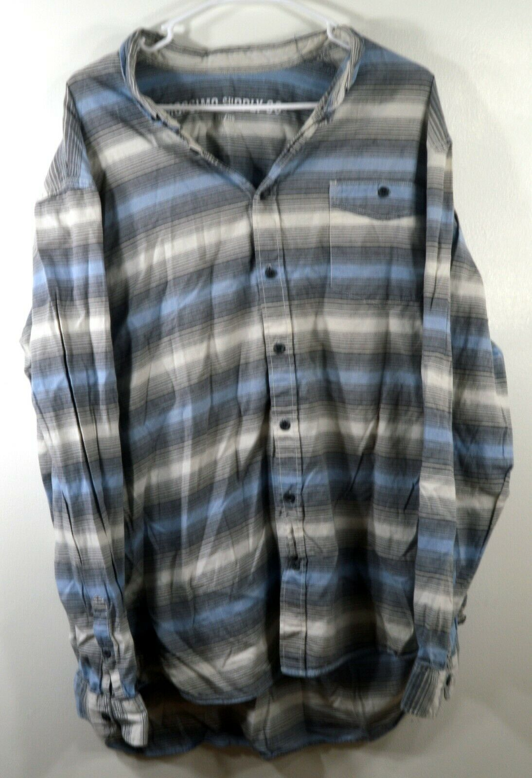 Mossimo Supply Co Button Front Casual Blue Long Sleeve Striped Cotton Shirt