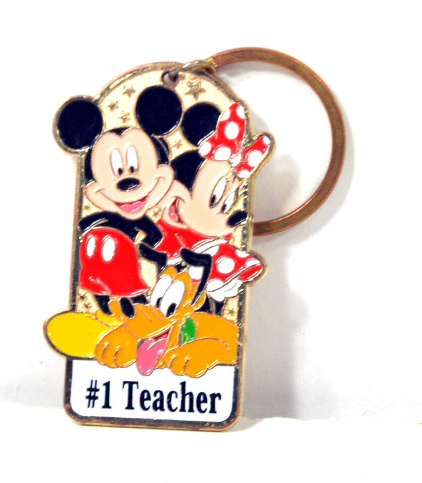 Walt Disney World Keychain - Number 1 Teacher - Mickey Mouse, Minnie, Pluto