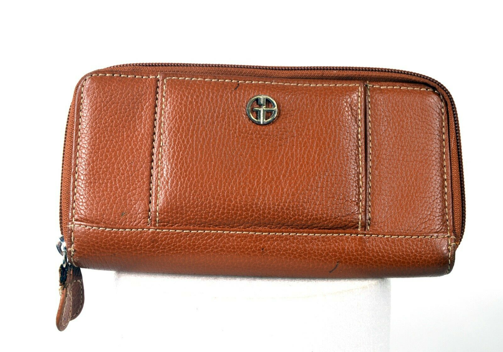 Genuine Leather Clutch Wallet - GB Brand - Brown / Tan - 8in x 4in
