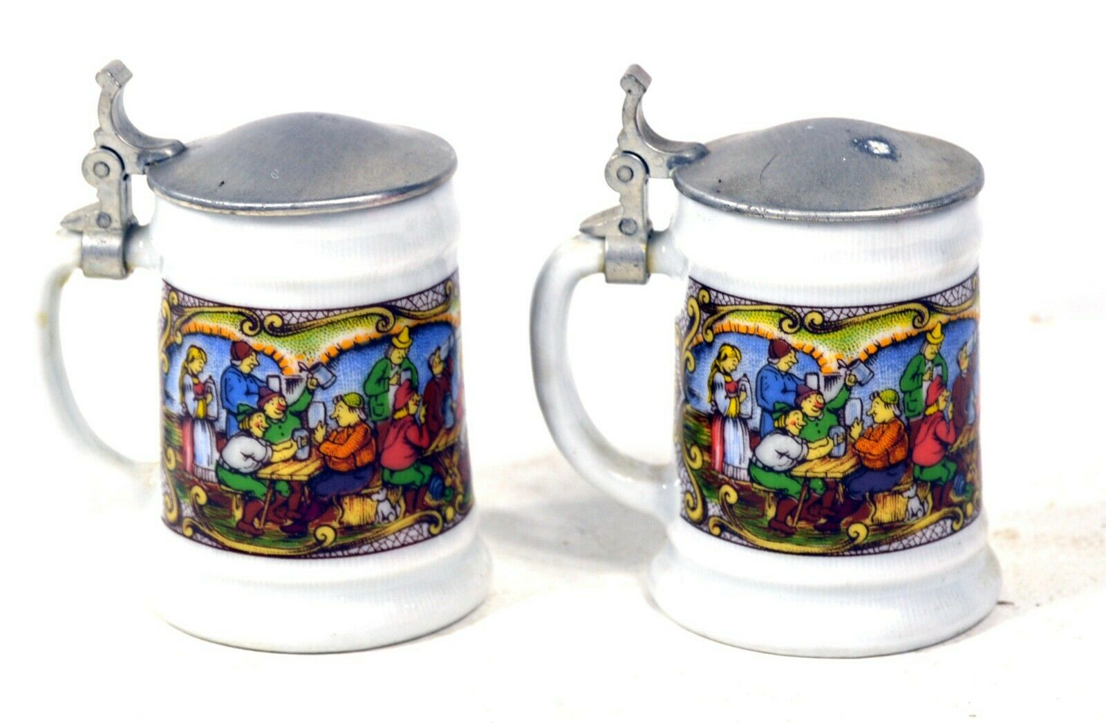 Miniature Beer Steins - 3in. Tall - Tavern Scene Shot Glasses (2)