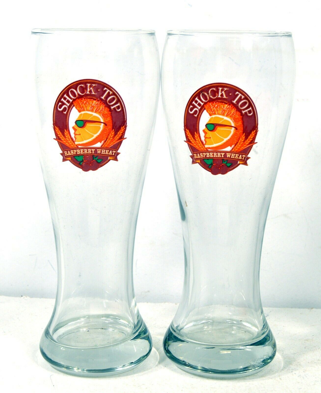 Shock Top Pint Glasses - 2 Beer Cups - 12oz - Raspberry Wheat