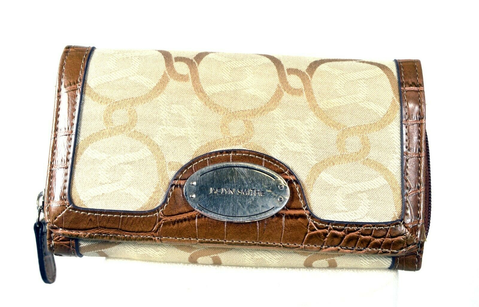 Jaclyn Smith Organizer Clutch Wallet - Brown and Tan w/ Zipper - 7in x 4in