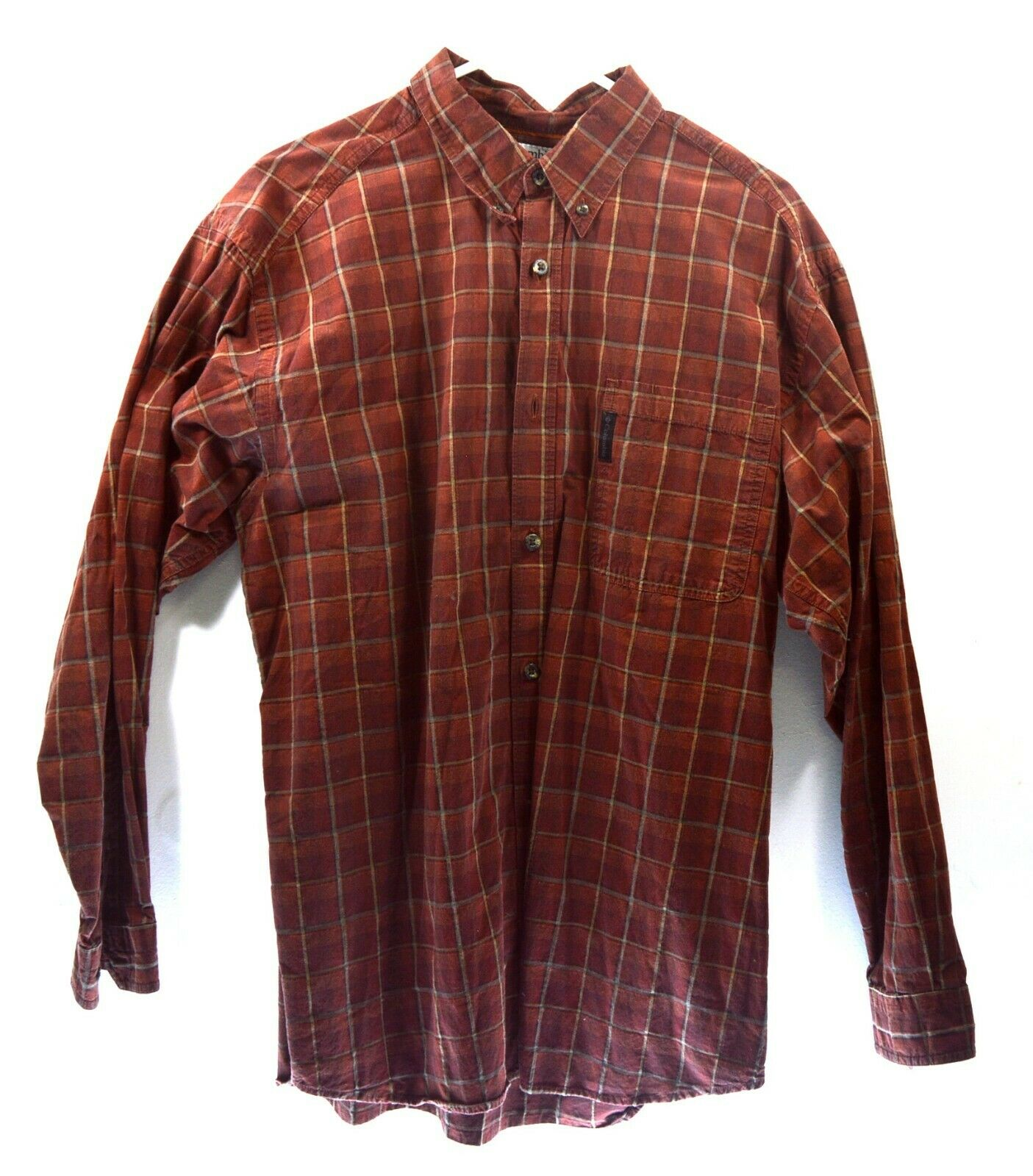 Columbia Red Button Down Shirt - XLarge - Plaid - Long Sleeve