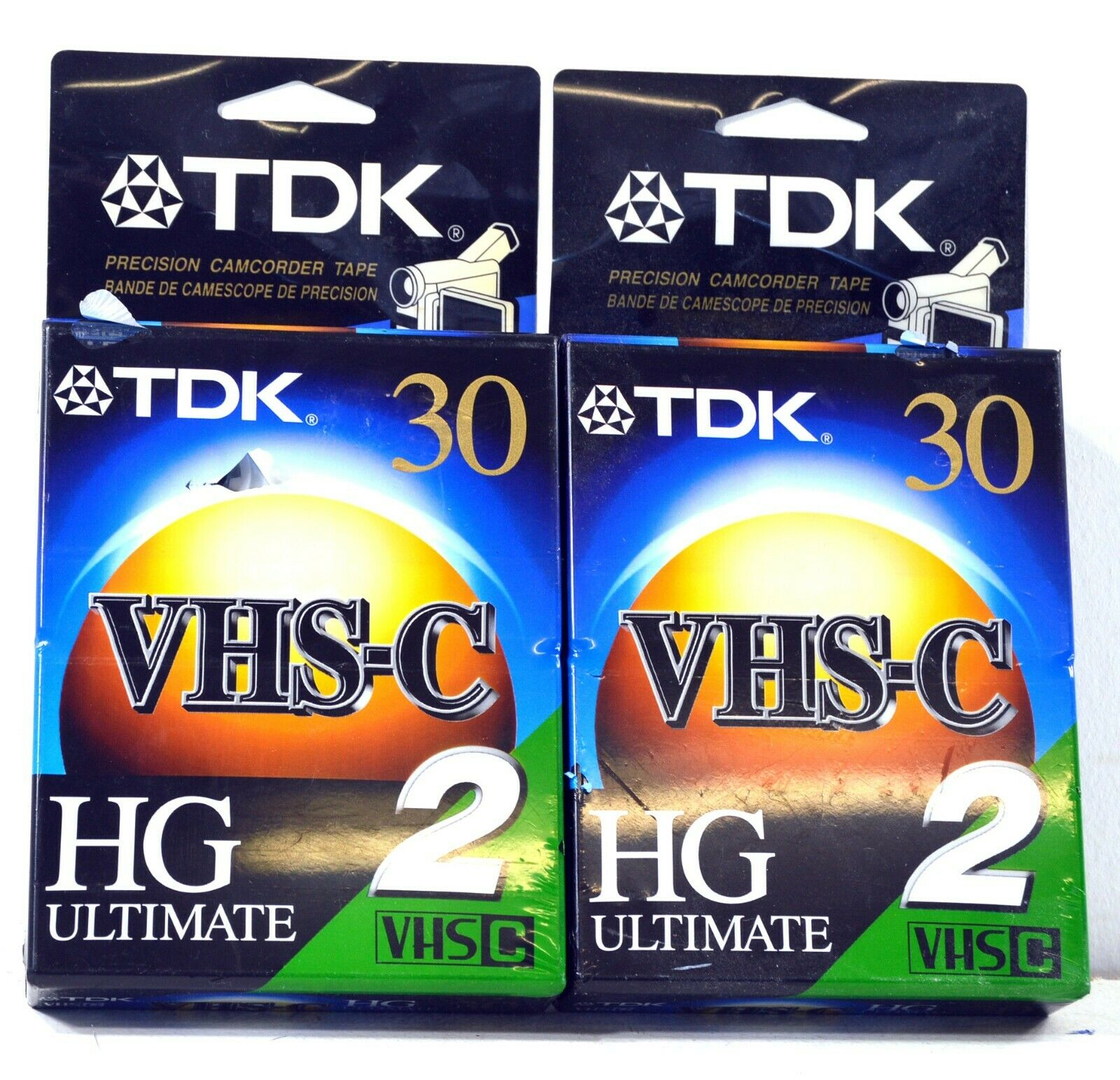 New TDK VHS-C 30 HG Ultimate Camcorder Blank Video Cassette Tapes - Lot of 4